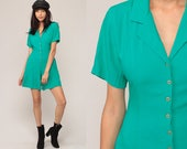 90s Playsuit Grunge Romper Outfit Green One Piece Woman 1990s Mini Dress Wide Leg Onesie Button Up Short Sleeve Extra Small xs