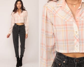 Crop Top Western Blouse 70s Plaid Shirt Button Up Shirt Checkered PEARL SNAP 1970s Vintage Long Sleeve White Pink Pastel Small Medium