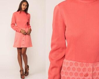 70s Mini Dress Mod Pink 60s High Waisted Vintage Circle Print Twiggy Gogo Button Down Long Sleeve 1970s Go Go Minidress Medium