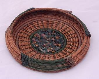 Pine Needle Basket with Green Rock Chips and Copper Bottom - Item 790 by Susan Ashley