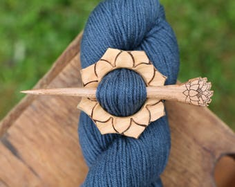 Juniper Lotus Shawl Pin - Handmade Wooden Shawl Pin -Wood Shawl Pin- Eco Knitting Supplies