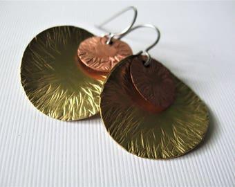 Ruffled--Mixed Metal Hammered Earrings by Allekram Designs
