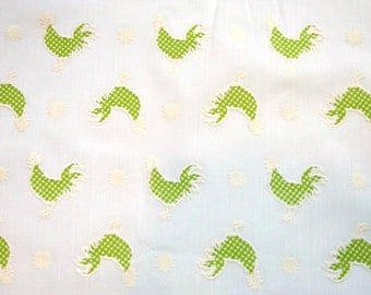 Vintage Flocked Lime Gingham Rooster Cotton Fabric