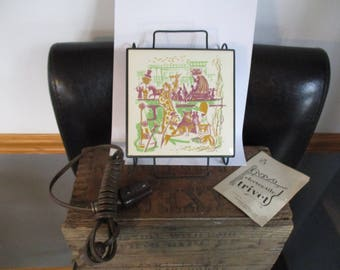 Mardi Gras Design Trivet by  Electra    Warming Tile Trivet Plate OLD/New Stock