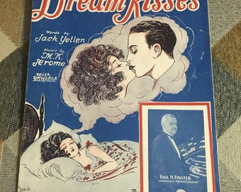 Vintage 1927 Dream Kisses Sheet Music