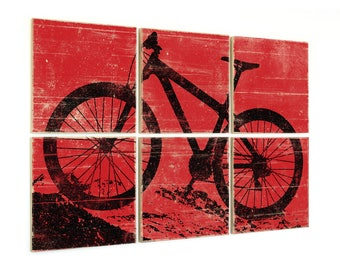 Large Mountain Bike Wall Art - Rustic Bike Art on Wood Panels - Custom Made