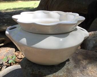 Violet pot, African violet pot, large, white, planter, house plant, violet, self watering