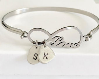 Personalized Love infinity Stainless Steel Bangle Bracelet - Initial bangle bracelet