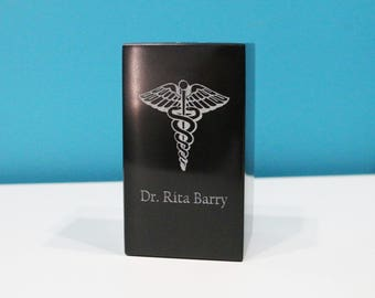 Personalized Black Marble Pen & Pencil Holder - Laser Engraved