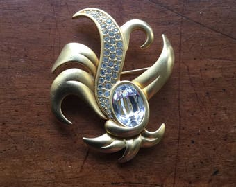 Vintage Swarovski Signed Swan Mark Modernist Pin