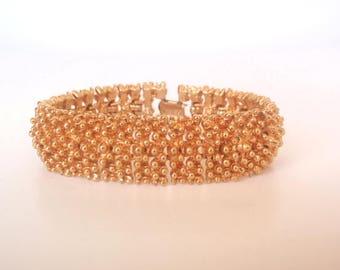 SARAH Coventry Bracelet, Vintage Goldtone Heavy Textured, 1970s