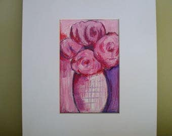 Floral Painting Peonies Drawing Pink Wall Decor Art Gift for her