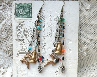 fall tassel pinecone earrings assemblage forest deer camp camping jewelry stag long rustic beaded lantern charm