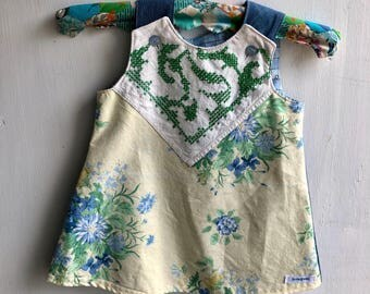 Girls pinafore dress, floral, doikey, vintage fabric