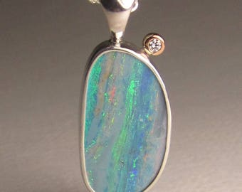 Australian Opal Pendant, 14k Rose Gold and Sterling Silver