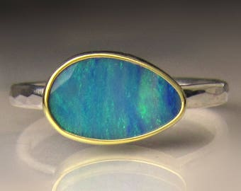 Boulder Opal Ring, Hammered Australian Opal Ring, Blue Opal Ring, 18k Gold and Sterling Silver