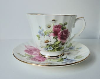 1950s DUCHESS Bone China Floral  Cup and Saucer set. Footed cup.