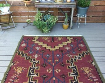 Vintage wool flat weave rug/Dark red/Area Rug/8 x 5 feet