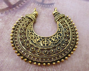 8 pcs antique gold colour Chandelier Earring Component, connector, pendant, filigree