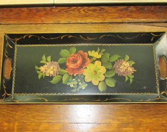 Unique OBLONG Antique TOLEWARE Tray Hand Painted Flowers