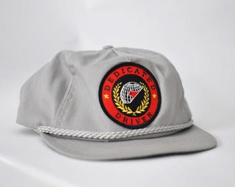 Vintage Baseball Cap Hat 80s Classic Gray Snapback with Patch Dedicated Driver Trucker