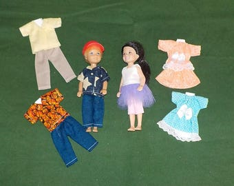 CHLSE-D-4) 5 inch Chelsea and 5 inch Darin dolls and 3 outfits each