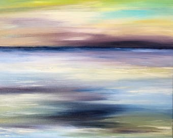 Abstract Seascape Landscape Painting Modern Contemporary Art Original Canvas Sunset Ocean Beach Sea Blue Purple Night Sky