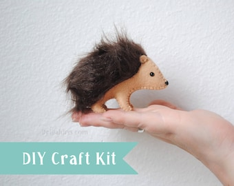 Stuffed Hedgehog Sewing Craft Kit *Felt Craft DIY Hedgehog Plush* Make Your Own Stuffed Animals Pattern and Supplies, Fun and Unique Gift