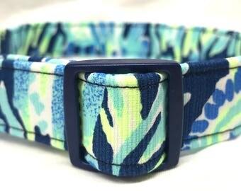 Lilly Pulitzer Fabric Dog Collar Sunset Swim Boy Blue Wedding