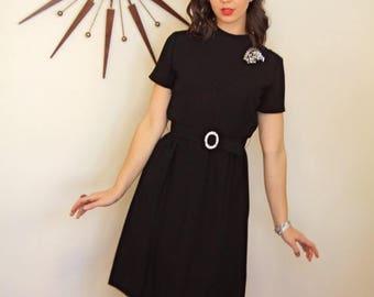 SALE 50% OFF Vintage 1960s Little Black Dress/ A Leslie Fay/ Rhinestone Belt/ Short Sleeve/ Knee Length/ Retro Lbd/ Mad Men Wiggle Dress/ Co