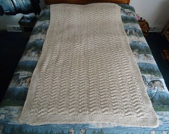 Off White Hand knitted Chevron Afghan, Blanket, Throw - Home Decor