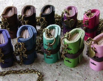Mini book necklace, Pick your color, mini journal pendant, miniature journal pendant, (2553)