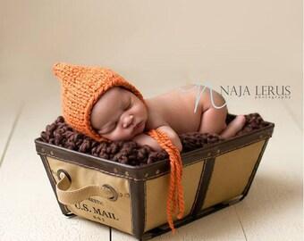 Newborn Pumpkin Hat, Newborn Photo Prop, Newborn Hat, Newborn Pixie Hat Newborn Hat Photo Prop Newborn Props Knit Newborn Hat Newborn Bonnet