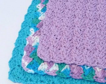 Crochet Washcloths Crochet dishcloths  Turquoise Lavender Face washcloths Cotton Dishcloths Cotton Washcloths Housewarming Gift Wedding Gift