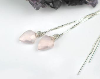 Light Pink Rose Quartz Threader Earrings | Kite Shape | Sterling Silver Box Chain Dangles | Madagascar Rose | Small Drop | Ready to Ship