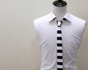 SALE Navy Stripe, Square Bottom Necktie.  Infant up to Men's Long 2 weeks before shipment