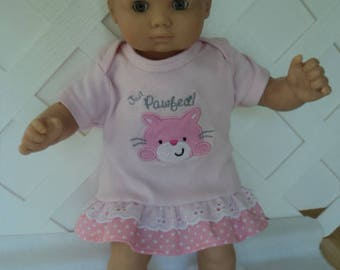 Bitty Baby Girl cute 3 pc. Pink ruffled  dress with  Socks and a headband     doll clothes
