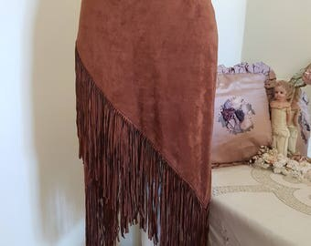 native american inspired skirt, tan fringed skirt, wild west costume, suede look indian skirt