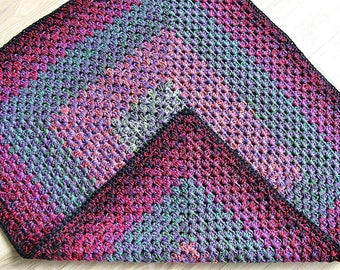 """Handmade crocheted boho reversible mat / rug 37.5"""" by 32"""" / one of the kind / heavy duty / thick / high quality cotton granny"""