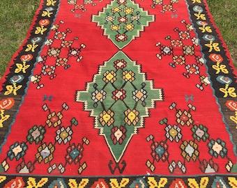 Vintage Kilim Rug Bright Colorful Wool Turkish Handwoven 7.75' x 5' SALE