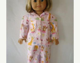 "ON SALE 18"" Doll clothes,Fits 18"" American Girl Doll,birthday, party,pajamas,slippers,READY To Ship, pink, giraffes,bear,sleepwear,ag doll,"