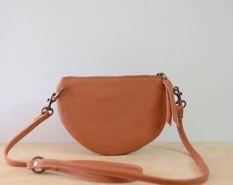 The Mini: Light camel brown leather crossbody bag
