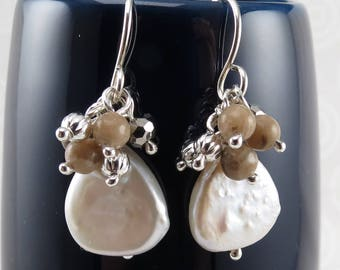 Pearl dangle earrings with Michigan Petoskey stone and sterling silver E2610