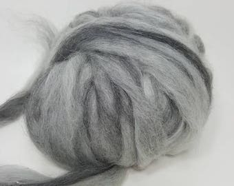 Suri Alpaca Roving. Suri Alpaca, Merino Roving 80/20, Black and Grey Marbled Roving. Marbled Stone