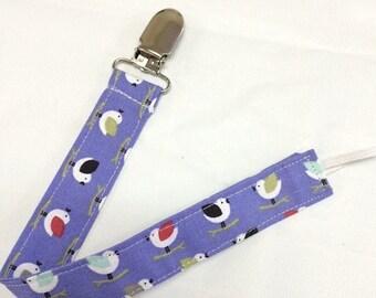On Sale Purple Birdies Paci Binky Clip