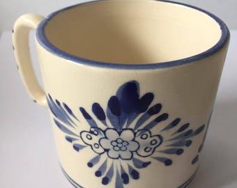 Vintage Dutch Mug Delft Blue Style - Handpainted porcelain ceramic Holland souvenir drink mug - Europe Windmills flowers