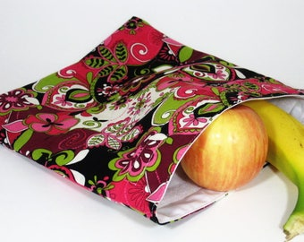 Pink and Black Floral Large Resuable Bag