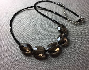 Smoky Quartz and Black Spinel Necklace in Sterling Silver