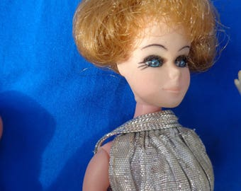 Vintage 1970's Topper Dawn Doll silver lame go go girl dress short blonde hair by Jeansvintagecloset