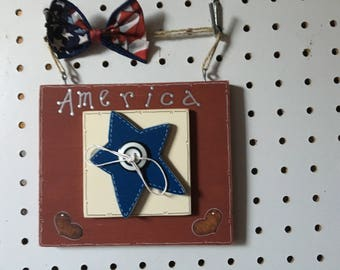 """America Hanging Wood Sign, Handmade, handpainted, 5 3/4 L x 1/2 """" wide, wood 1/2"""" thick,weighs 5.3 oz"""